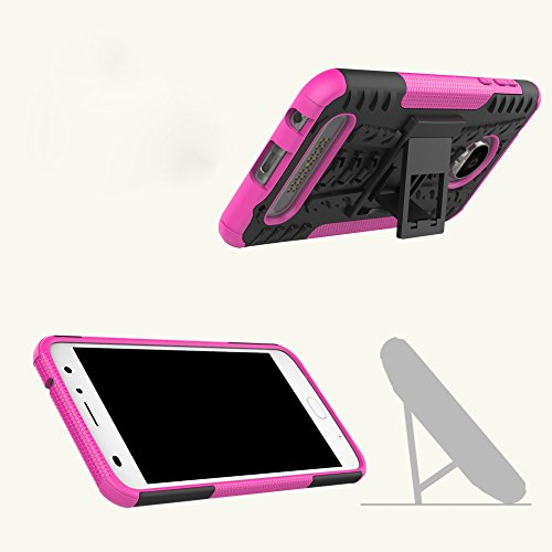 OFU®Para MOTO Z2 Play 5.5 Smartphone, Híbrido caja de la armadura para el teléfono MOTO Z2 Play 5.5 resistente a prueba de golpes contra la lucha de viaje accesorios esenciales-rojo púrpura