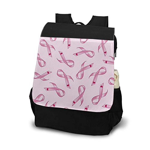 (ELKFOREST Breast Cancer Awareness Pink Ribbons Hearts Outdoor Shoulder Backpack Tavel Bag Daypack School Laptop Bag for Women Men)