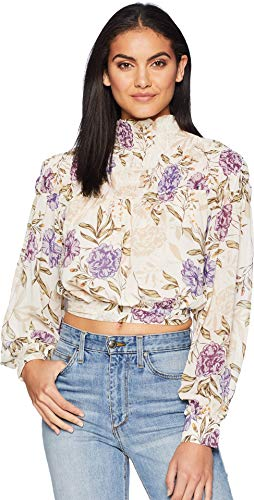 (ASTR the label Women's Rhonda Floral Mock Neck Long Sleeve Top with Open Lower Back, Cream Lilac, S)