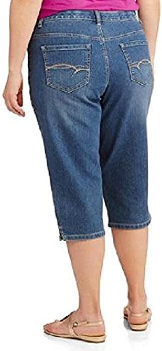 81075c35112b0 Women s Plus-Size Denim Capri Pants with a Comfort Waistband. Faded Glory  Women s Plus-Size Denim Capri Pants ...