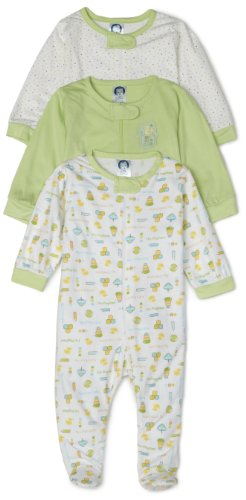 Gerber Zip Front Sleep 'N Play, 3 Pack, Neutral, 3-6 Months