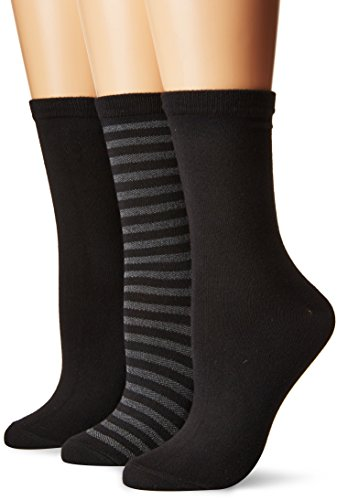 (K. Bell Women's Soft and Dreamy 3 Pack Crew, Black Thin Stripe Pique Texture, 9-11)