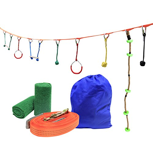 UBOWAY Ninja Hanging Obstacle Course Kit Obstacles Line Equipment Set for Kids with 46' Slackline, 2 Monkey Bars, 2 Gymnastics Rings, 3 Fists for Backyard, Playground (7 Obstacles & Climbing (Monkey Play System Package)