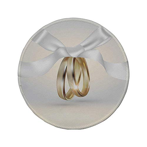 d Mouse Pad,Wedding,Golden Colored Wedding Rings with Ribbon Marriage Icon Realistic Celebration Photo,White Gold,11.8