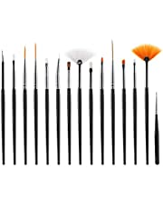 CHOP MALL 15pcs Black Acrylic Nail Brushes - UV Gel Nail Polish Painting Brushes Drawing Pens - Manicure Nail Art Tools Set - Beauty Nail Brush Pen