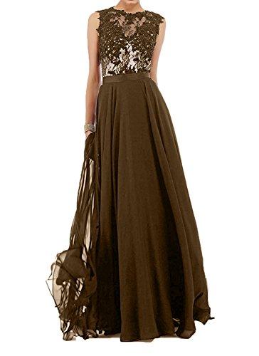 Spitze Braun Spitze A Partykleider Damen Blau mit Charmant Dunkel linie Abendkleider mit Navy Brautmutterkleider Bodenlang pU6T1q6