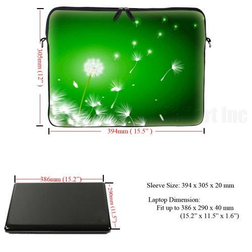 15 39,62 cm mit verstecktem Griff & Ösen (D Ringen) Notebookhülle für Macbook, Acer, Asus, Dell, Hp, Sony, Toshiba, uvm - Pusteblume