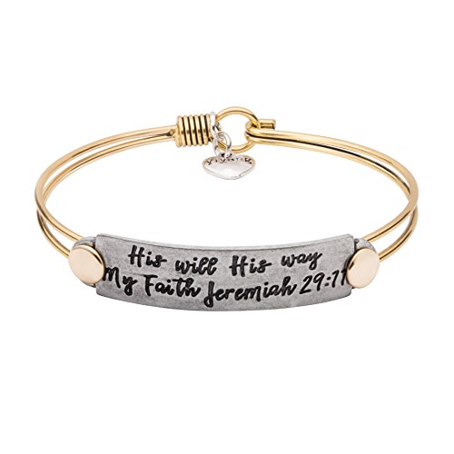(UNQJRY Engraved Bracelets for Women Bible Verse Bangle Inspiration Christian Vintage Brass Copper Friendship Jewelry Gift for Girl Women Mantra His Will His Way My Faith)