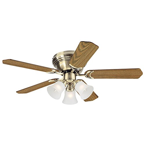 Westinghouse Lighting 7215700 Contempra Trio 42-Inch Antique Brass Indoor Ceiling Fan, Light Kit with Frosted Glass, Includes Bulbs ()