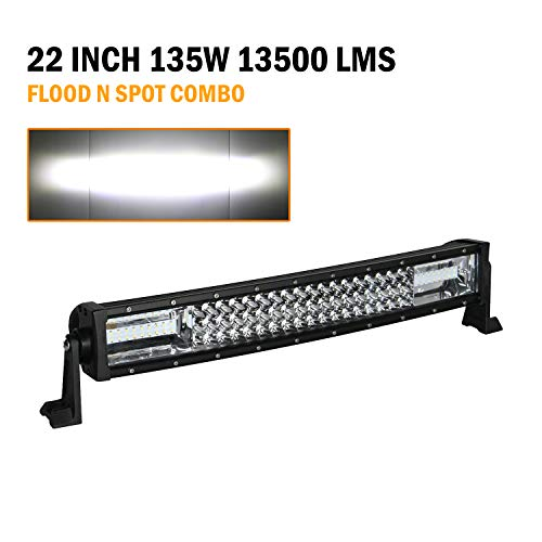 VehiCode 22 Inch Triple Row LED Driving Work Fog Pod Light Bar Kit - Cree Spot Flood Combo @ 135W 13,500LM 6000K White - Adjustable Bracket Hood Bumper Mount for Jeep Wrangler, Chevy, ATV