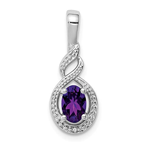 - 925 Sterling Silver Purple Amethyst Diamond Pendant Charm Necklace Set Birthstone February Fine Jewelry Gifts For Women For Her