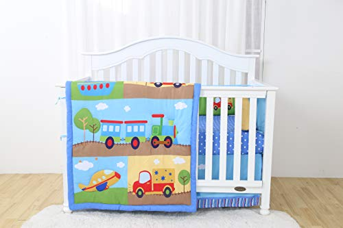 Decotex 4 Piece Crib Baby Bedding Nursery Set Includes Designs for Boys & Girls (Blue Train)