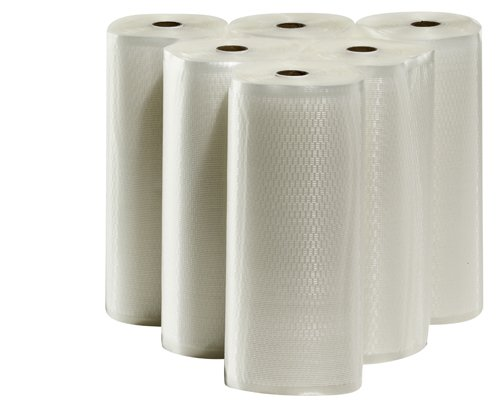6 - 11''x50' Vacuum Seal Rolls Commercial Grade Embossed Vacuum Sealer Bags by Weston