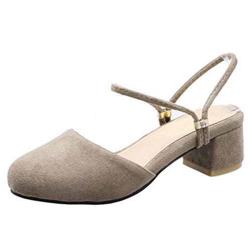 FANIMILA Mujer Moda Ankle Strap Sandalias Cerrado Slingback Tacon Ancho Zapatos Gris