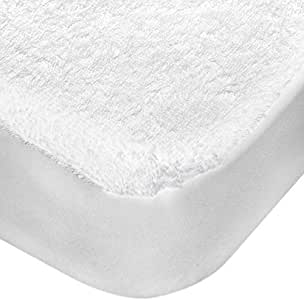 Princess Terry Water Proof Mattress Protector - King Size, White, 180 x 200 cm