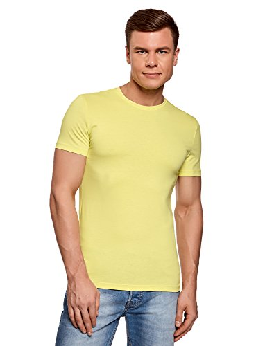 Oodji Etiqueta Amarillo Sin De Camiseta Básica Hombre Ultra 6700n Algodón rwqIrxR