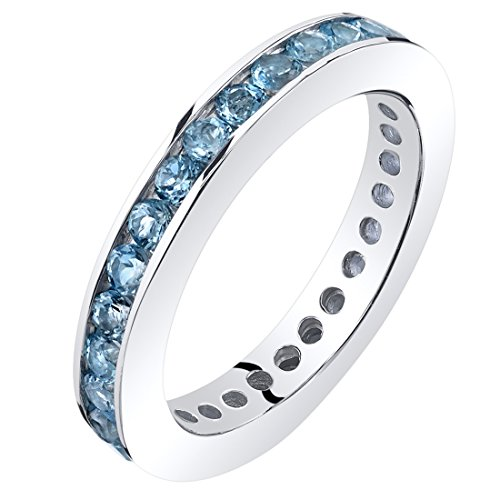 Peora Swiss Blue Topaz Eternity Band Ring Sterling Silver 1.25 Carats Size 8