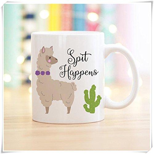 OttoRiven101 - Cute Llama Coffee Mug, Spit Happens, Llama Lovers Gift, 11oz Ceramic Coffee Mug/Tea Cup, High Gloss