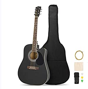 MATICO 41 Inch 6 Strings Acoustic Guitar Student Pack, Handmade Cutaway Basswood Guitar Starter Kit with Accessories, Matte Black