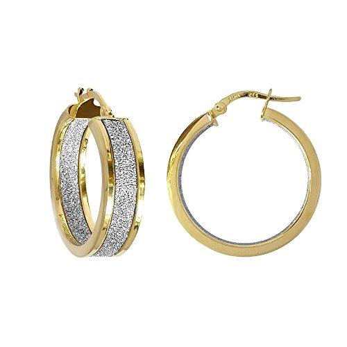 Jewelco Londres 9K moondust d'or à double boucles d'oreilles face 20mm