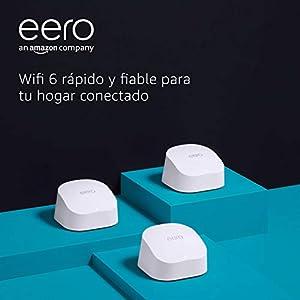 Nuevo | Sistema Wi-Fi 6 de malla de doble banda Amazon eero 6, con controlador de Hogar digital inteligente Zigbee integrado | 3 unidades