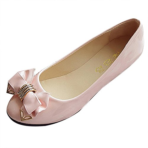Party Bow Flache Schuhe Knot Damen Mode bequeme Abend Sommer Pink Herbst Kingko® YR0gwzw