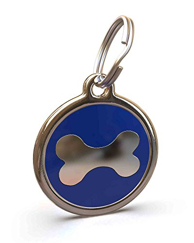 UNLEASHED.DOG Customizable Engraved Dog ID Tag - Stainless Steel with Big Bone Enamel Inlay - Dark Blue | Large (Blue Enamel Bone)