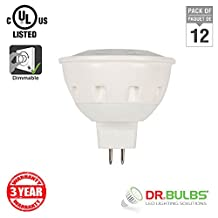 Dr. Bulbs™ -Pack of 12- 6 Watt (50W Equivalent) MR16 GU5.3 12V(AC) Dimmable LED Spot Light Bulb, UL & CUL Listed, GU5.3 Base, Soft White 3000K from Canada