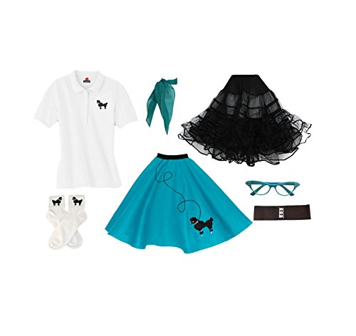 1950s Poodle Skirt, Petticoat, Polo Shirt with Accessories, Adult 7 Piece Costume Set Teal Large -