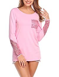 Women O-Neck Blouse Long Sleeve T-Shirt Tops With Sequins Pocket Thin Fleece Inside