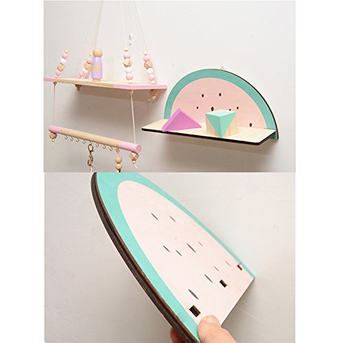 cheerfullus Watermelon Shape Wooden Storage Shelf Decorative Display Wall Hanging Children's Room Living Room Bedroom Wall Decoration by cheerfullus (Image #5)