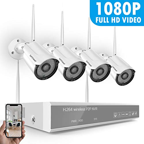 [Full HD&8CH Expandable] Security Camera System Wireless,Safevant 8CH 1080P NVR Security Camera System,4PCS 1080P(2.0MP) Indoor/Outdoor IP66 Wireless Security Cameras,Plug&Play,No Monthly Fee