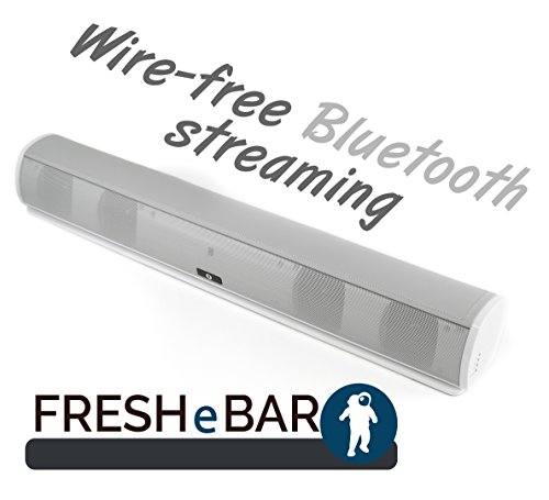 Bluetooth Leather Television Sound Bar - FRESHeBAR TV Soundbar - 24 inch, 90 Watt with Built-in Subwoofer - White / Grey Leather