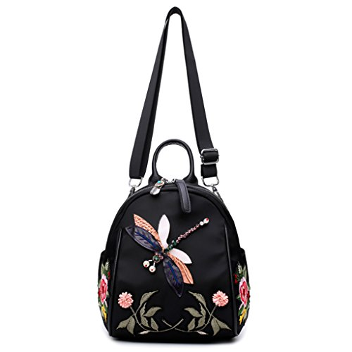 Student School Backpack Flowers Dragonfly body Embroidered Women Handbag Bag Cross Kimruida Backpack Girls aqvTx1Wwp