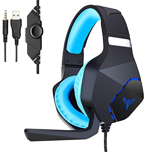 TAOXUE PS4 Headset PC Gaming Headset Over-Ear Gaming Headphones with Mic LED Light Noise Cancelling & Volume Control for…