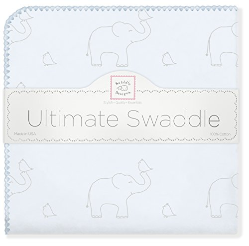 SwaddleDesigns Ultimate Swaddle Blanket, Made in USA Premium Cotton Flannel, Sterling Deco Elephants on Sunwashed Blue ()