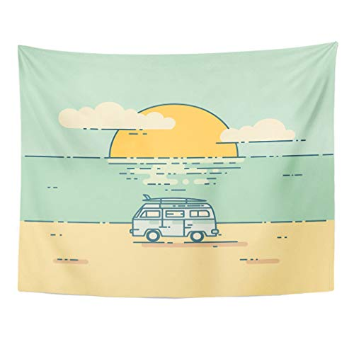 - Tarolo Decor Wall Tapestry Yellow Car Vintage Flat Line Surf Van Beach Minivan Sunset Landscape Adventure and Travel Trip 60 x 50 Inches Wall Hanging Picnic for Bedroom Living Room Dorm