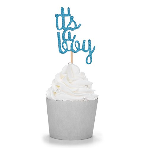 Blue Glitter It's a Boy Cupcake Toppers Baby Shower Gender Reveal Party -