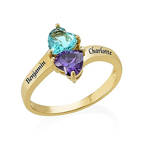 (a266XDKSJK Sterling Silver Customized Birthstone Rings Personalized Engraved Name & Marquise Birthstones Promise Rings for women(gold 9))