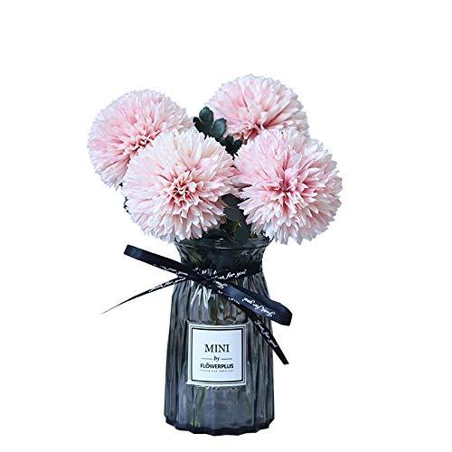 ... Flores Ping-Pong Crisantemo Emulación Decoración De La Decoración De La Sala De Estar De La Flor, Conjunto De Botellas De Vidrio Falso De La Flor, ...