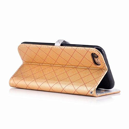Yiizy Apple IPhone 7 Custodia Cover, Amare Design Sottile Flip Portafoglio PU Pelle Cuoio Copertura Shell Case Slot Schede Cavalletto Stile Libro Bumper Protettivo Borsa (Dorato)