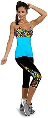 Leggings Deportivos Mujer Cortos,Mallas Mujer Leggins Leggings de Running Polainas de Fitness de Yoga Floral para Mujeres Pantalón 3/4 de señora Gym ...