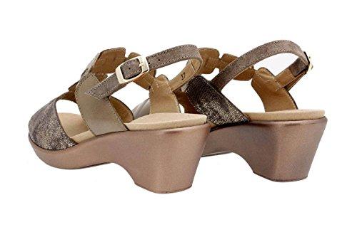 PieSanto Chaussure Femme Confort en Cuir 1853 Sandales à Semelle Amovible Confortables Amples Taupe w8lDh