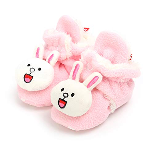 - Save Beautiful Newborn Infant Baby Girls Boys Slippers Warm Fleece Boots First Walkers Shoes (12-18 Months, F-Pink Rabbit)