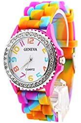 Geneva New Rainbow Crystal Rhinestone Watch Silicone Jelly Link Band.