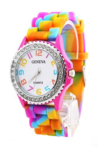 (Geneva New Rainbow Crystal Rhinestone Watch Silicone Jelly Link Band.)