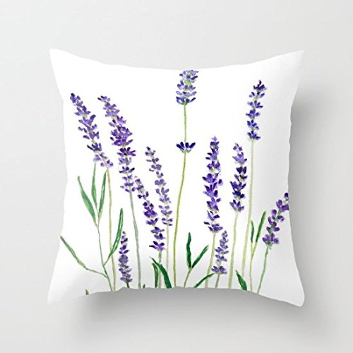 "CiCiDi Lavender Flower Decorative Cotton Canvas Throw Pillow Cover for Home Decor 18""x 18"""