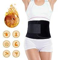 Portzon Exercise & Fitness Waist Belt Trainer Hot Thermal Neoprene Burn Fat Exercise Slimming Body Shaper Strap Weight Loss Trimmer Adjustable for Men & Women, Black