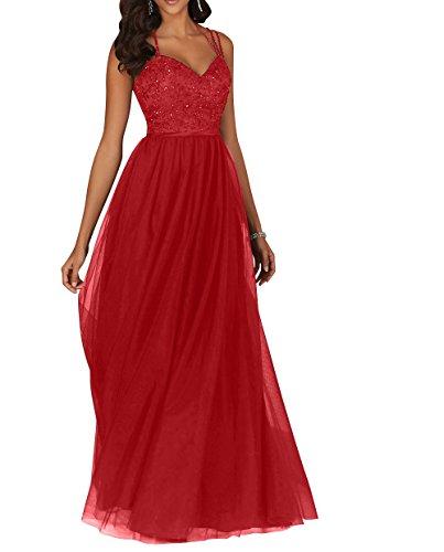 Promkleider Kleider mia Rot Abendkleider Spitze Linie Partykleider La Langes Rock A Brau Festlichkleider Jugendweihe 8qUadwz