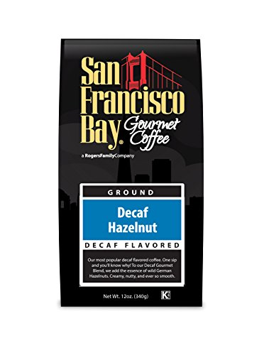 San Francisco Bay Coffee, Decaf Hazelnut Crème- Whole Bean, 12 Ounce, FLAVORED, Swiss Water Process- Decaffeinated
